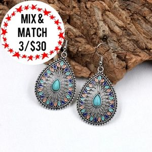 🔹️Pendant Bohemian Chic Turquoise Earrings